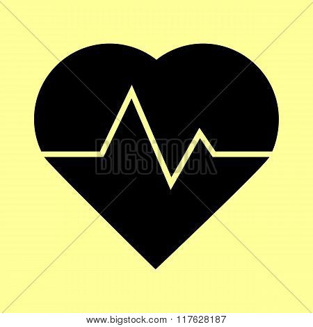 Heartbeat sign. Flat style icon