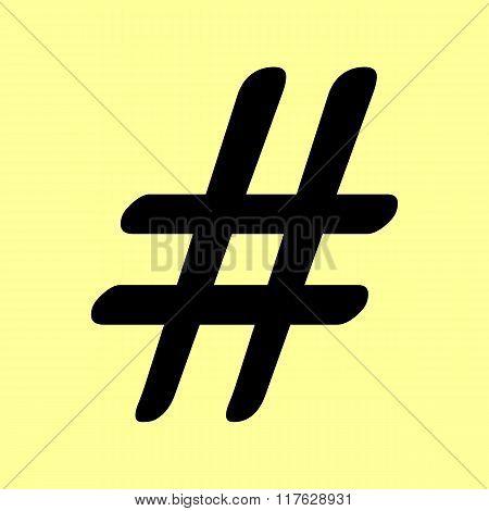 Hashtag sign. Flat style icon