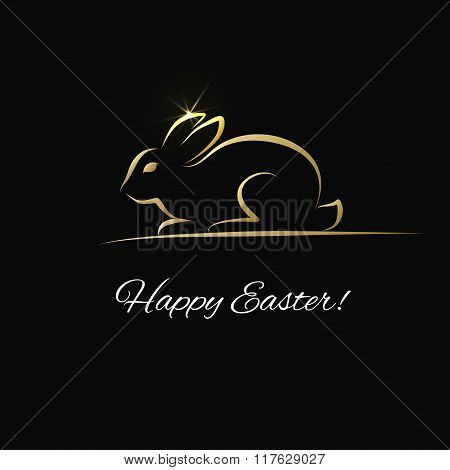 Easter greeting card with gold bunny