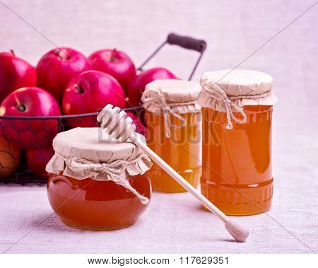Honey And Apples. Rustic Style.