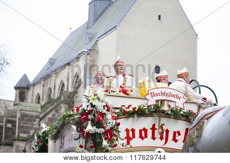 Cologne, North Rhine, Germany - February 8, 2016 : Rosenmontag Parade( the rose monday). More than one million spectators on the streets.Carnival parade on 8th February , 2016 in Cologne,Germany.