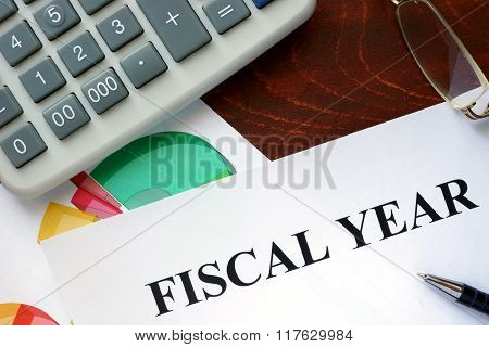 Paper with Fiscal year and charts.
