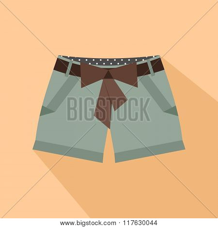 Girl short with ribbon belt