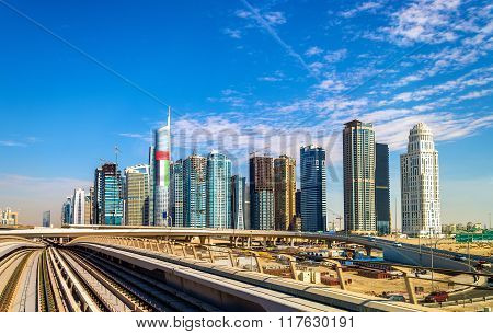 View Of The Jumeirah Lake Towers District In Dubai, Uae