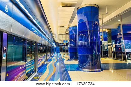 Interior of BurJuman metro station on January 1 2016 in Dubai, UAE