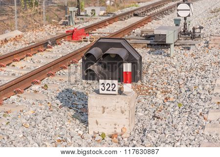 railroad switch in the urban station of Thailand.