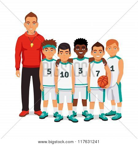 School boys basketball team with their coach