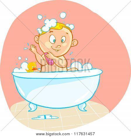 Vector Illustration Of A Happy Cartoon Baby Kid In Bath Tub