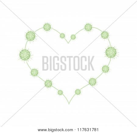 Urena Lobata Fruits In A Heart Shape