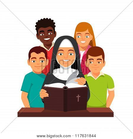 Nun is reading Holy Bible to mixed race teens