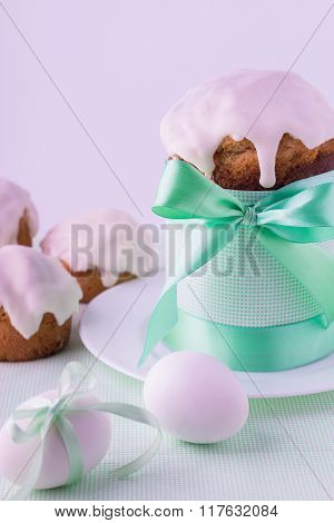 Decorated Easter Cake And Eggs  In Mint Pastel Colours. Selective Focus And Blurred.