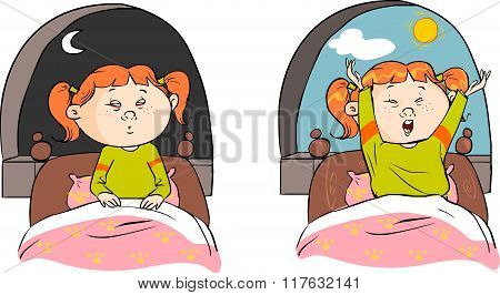 Vector Illustration Of A Girl Sleeping And Awakening