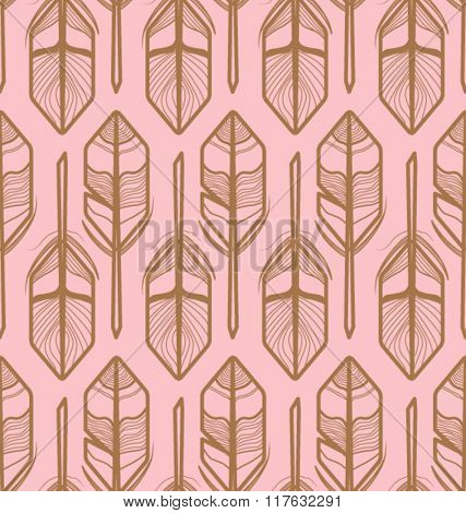 FEATHERS PATTERN GEOMETRIC STYLE. Repeatable and editable vector illustration file. Gold coloring tone. Can be use for fashion, print, decor, interior design, craft...