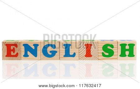English word formed by colorful wooden alphabet blocks, isolated on white background