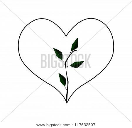 Fresh Green Leaves In Heart Shape Frame