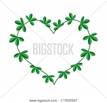Green Leaves In A Heart Shape Wreath