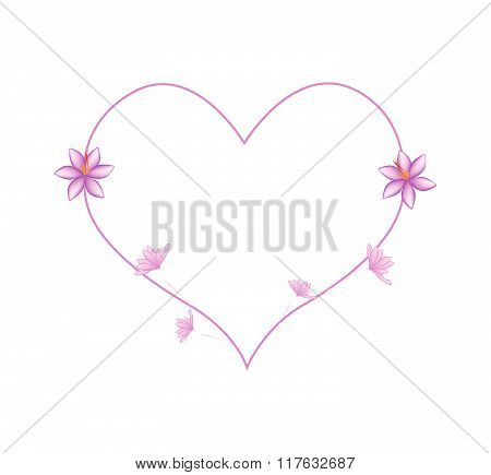 Pink Crocus Sativus Flowers In A Heart Shape