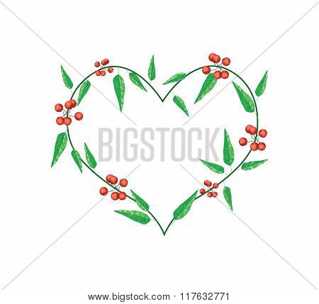 Evergreen Leaves In A Heart