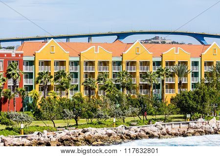Colorful Curacao Resort Under High Bridge