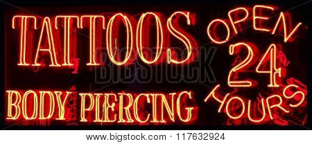 A 24 Hour Tattoo Parlor Neon Sign