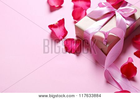 Rose petals on the table
