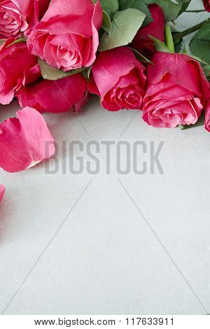 Beautiful roses on the table