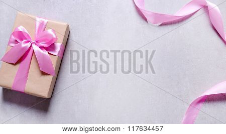 Valentine's day. Gift with pink ribbon