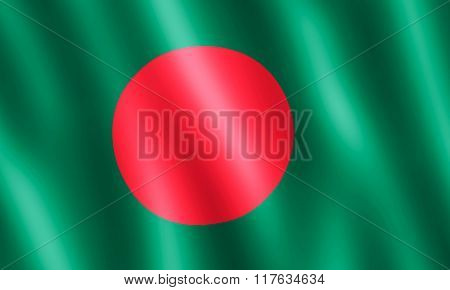 Flag Of Bangladesh Waving In The Wind