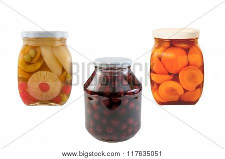 Three jars of preserved fruit