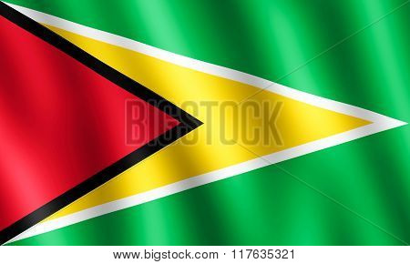 Flag Of Guyana Waving In The Wind