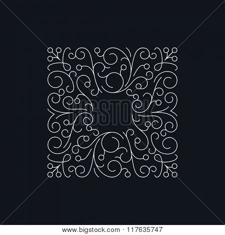 Square floral frame vector template