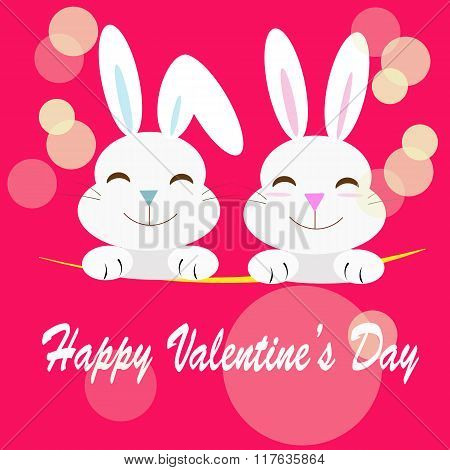 cartoon rabbits with valentine's day message