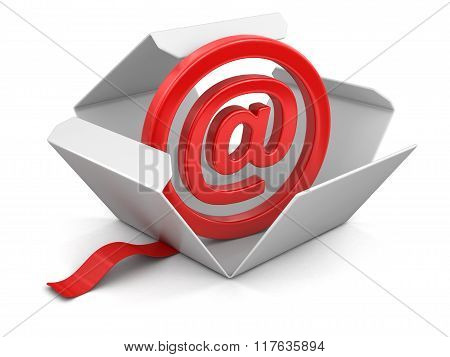 Open package with E-mail sign. Image with clipping path
