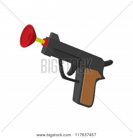 Toy gun with suction cup cartoon icon