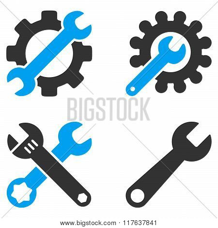 Configuration Tools Flat Bicolor Vector Icons
