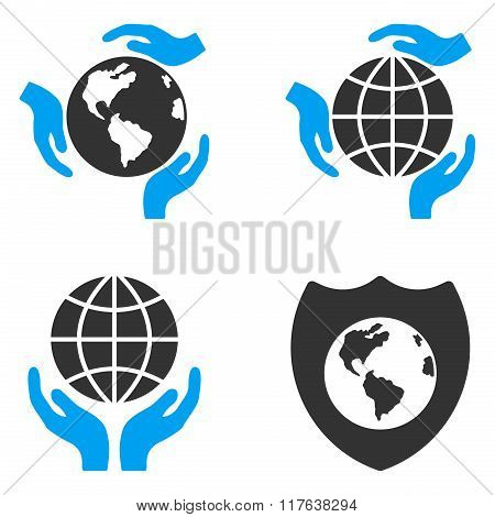 Global Protection Flat Bicolor Vector Icons
