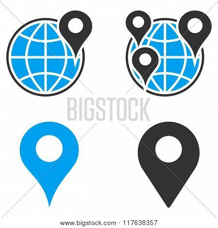 GPS Map Markers Flat Bicolor Vector Icons