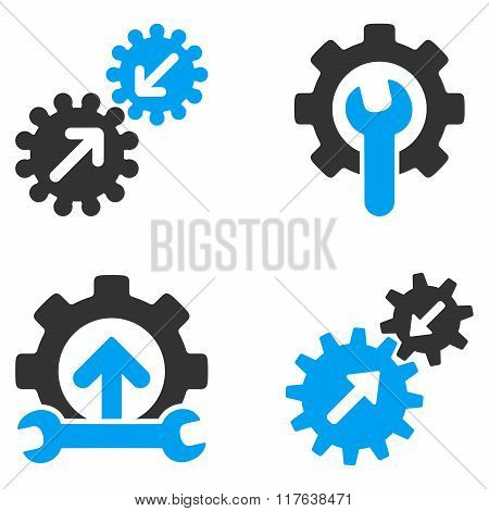 Integration Tools Flat Bicolor Vector Icons