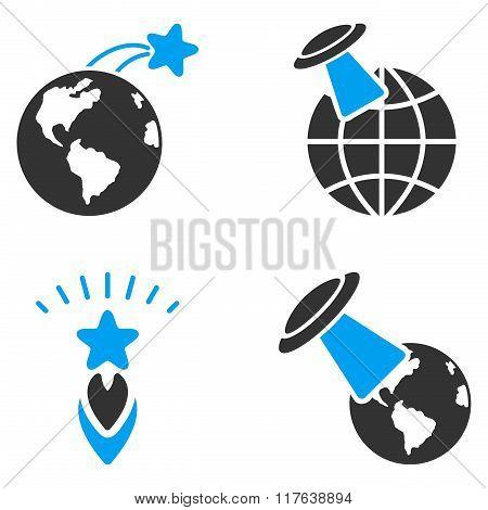 Ufo Space Flight Flat Bicolor Vector Icons
