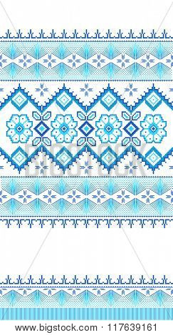 Blue embroidered good like old handmade cross-stitch ethnic Ukraine pattern. Ukrainian towel with ornament, rushnyk called, in vector