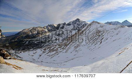 Panoramic view of Kasprowy Wierch from Zakopane in Tatras