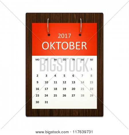 An image of a german calendar for event planning 2017 october