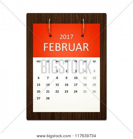 An image of a german calendar for event planning 2017 february