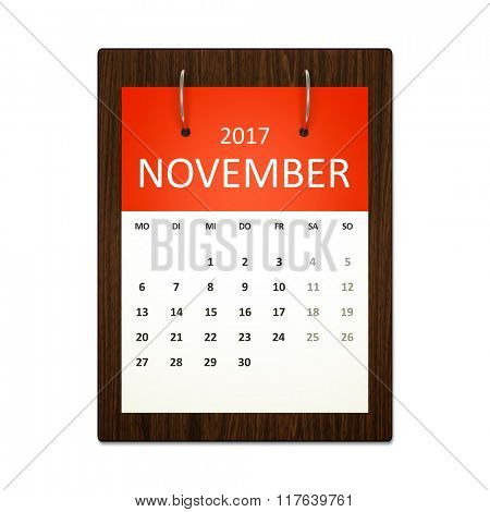 An image of a german calendar for event planning 2017 november