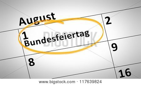 calendar detail shows federal holiday first of august in german language