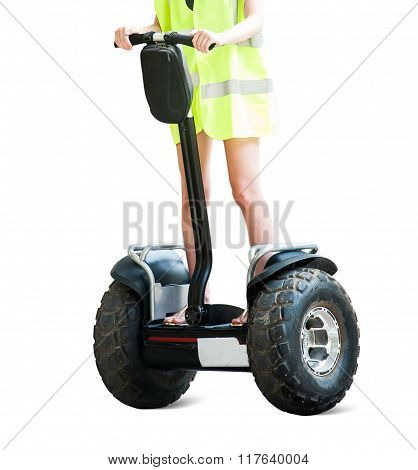 Girl Is Driving An Individual Electric Scooter