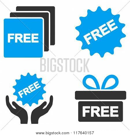 Free Gifts Flat Bicolor Glyph Icons