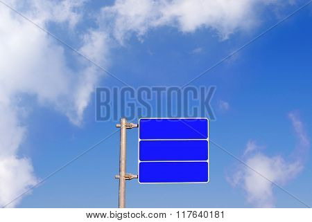 Blank Road Sign With Sky Background