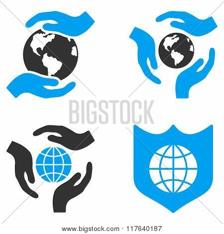 Global Care Flat Bicolor Glyph Icons