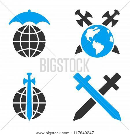 Global Guard Flat Bicolor Glyph Icons